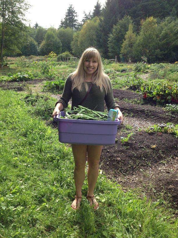 Paulina after harvesting beans for blanching and freezing to cook with in winter Feast Bowl meals
