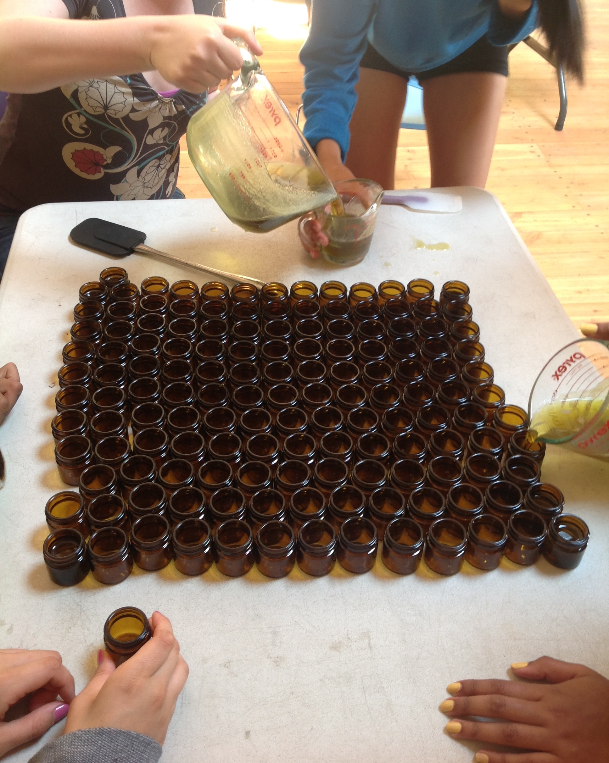 Many hands working together - making salve with natural medicines found throughout the farm
