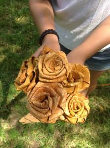 Cedar roses made during cedar weaving workshop